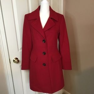 Anne Klein Red Wool Cashmere Blend Coat - Size S